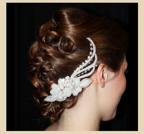 Updo with White Flowers